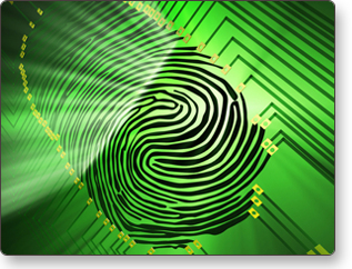 A picture of a fingerprint on a security system