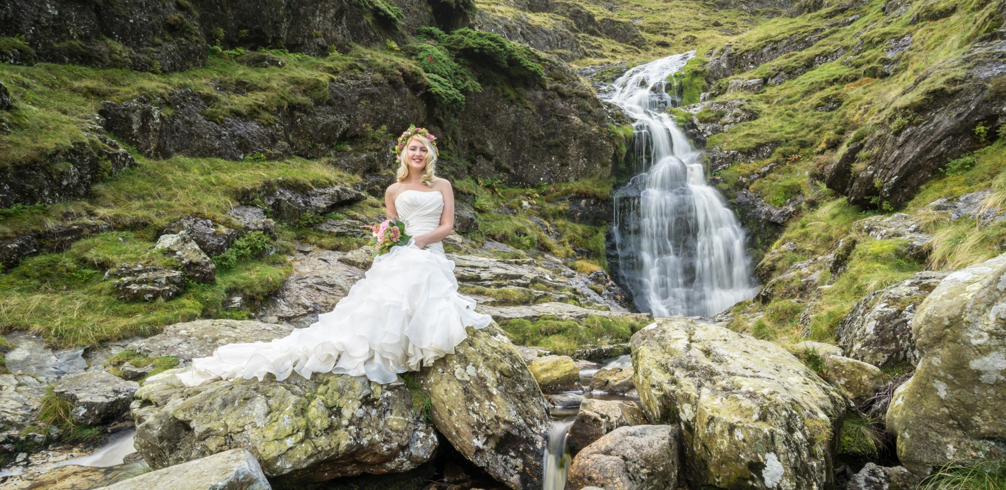 Waterfall. Wedding Photographer Edinburgh Our Dream Photography