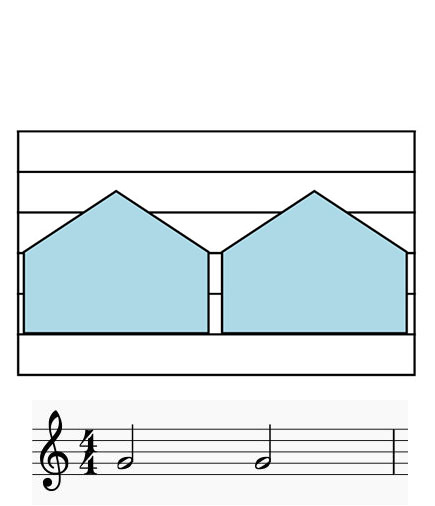 Colorsheetmusic two notes notation