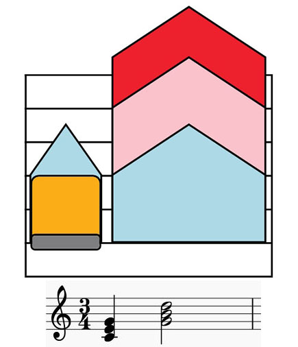 Colorsheetmusic accord or triple note notation