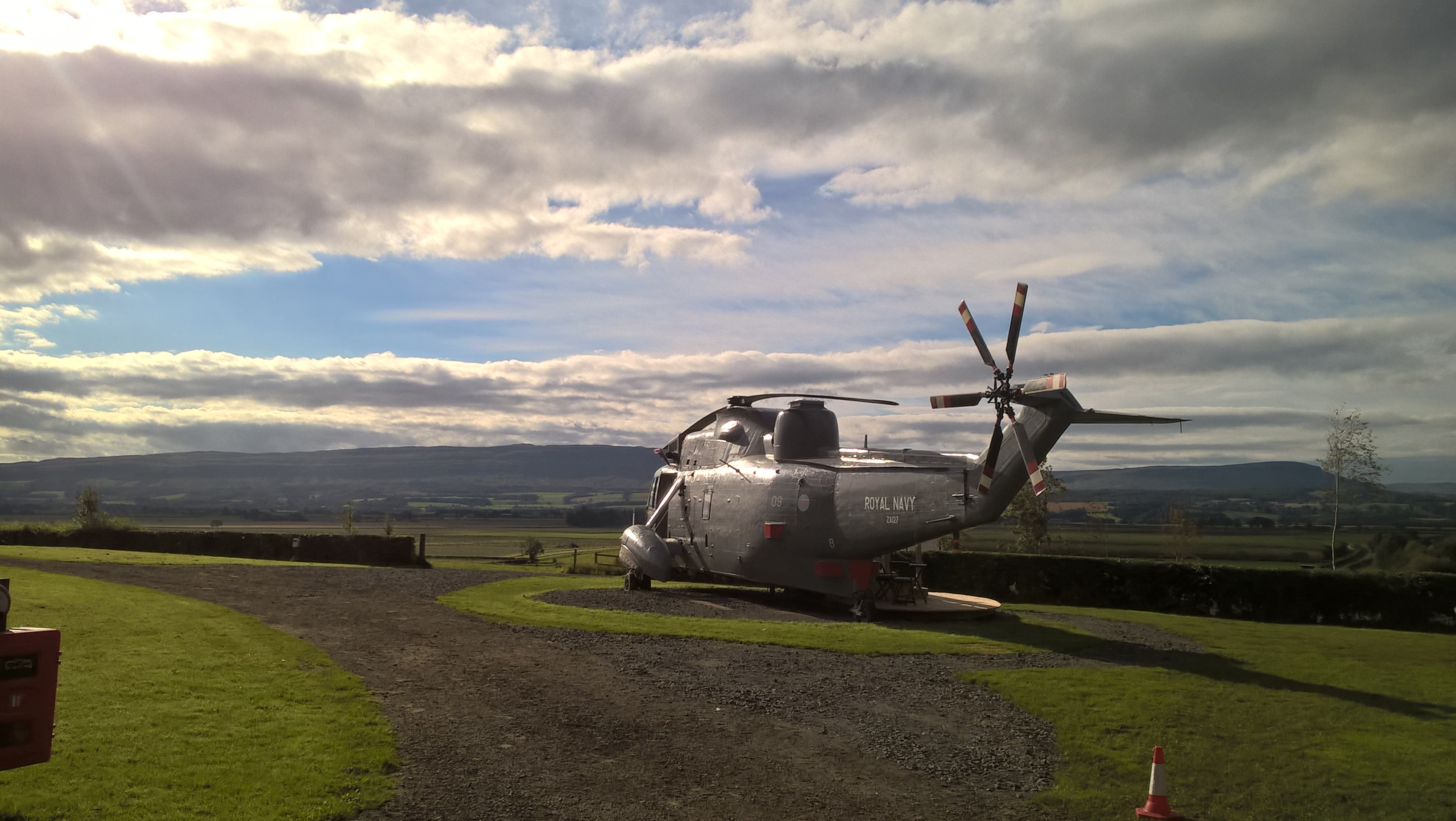 Fantastic views across the Forth Valley at Helicopter Glamping