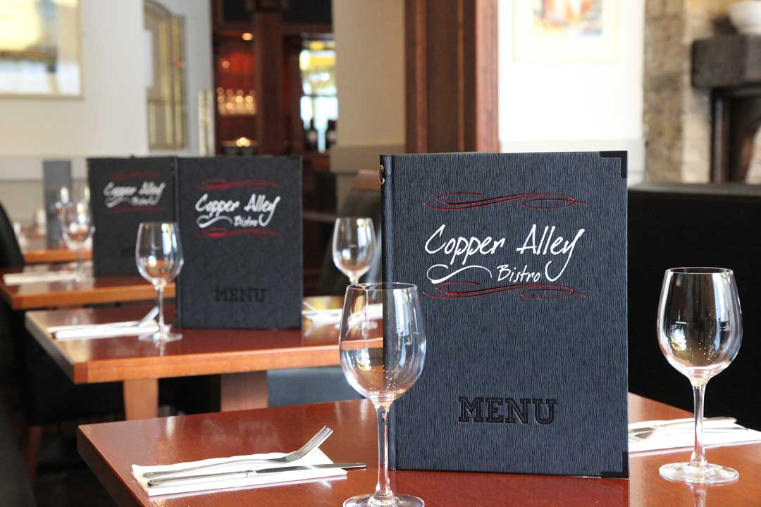 Image of Copper Alley Bistro Menu on Table
