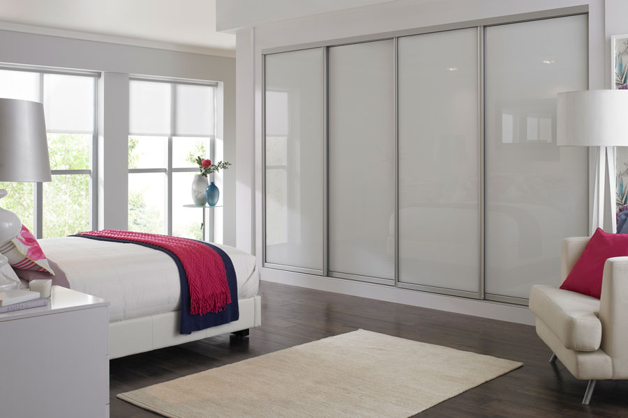 White Glass Sliding Wardrobes