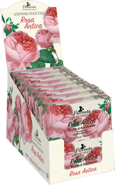 Espositore sapone vegetale 200 g rosa antica 16 pz
