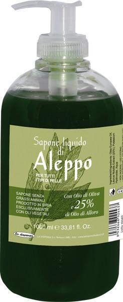Sapone di aleppo liquido con il 65% di olio d'oliva e il 25% di olio di Alloro