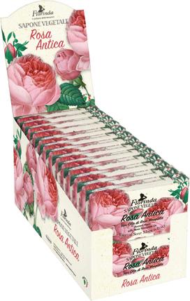 Espositore sapone vegetale 100 g rosa antica 26 pezzi
