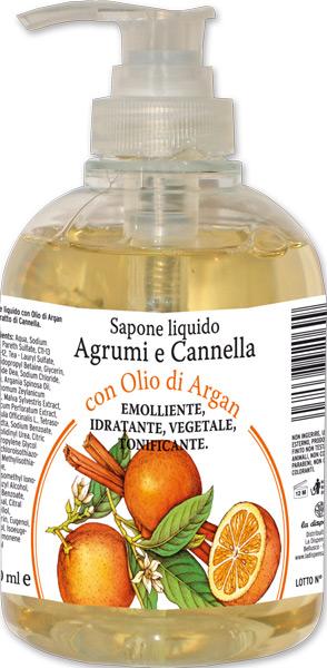 Sapone liquido agrumi e cannella con olio di argan