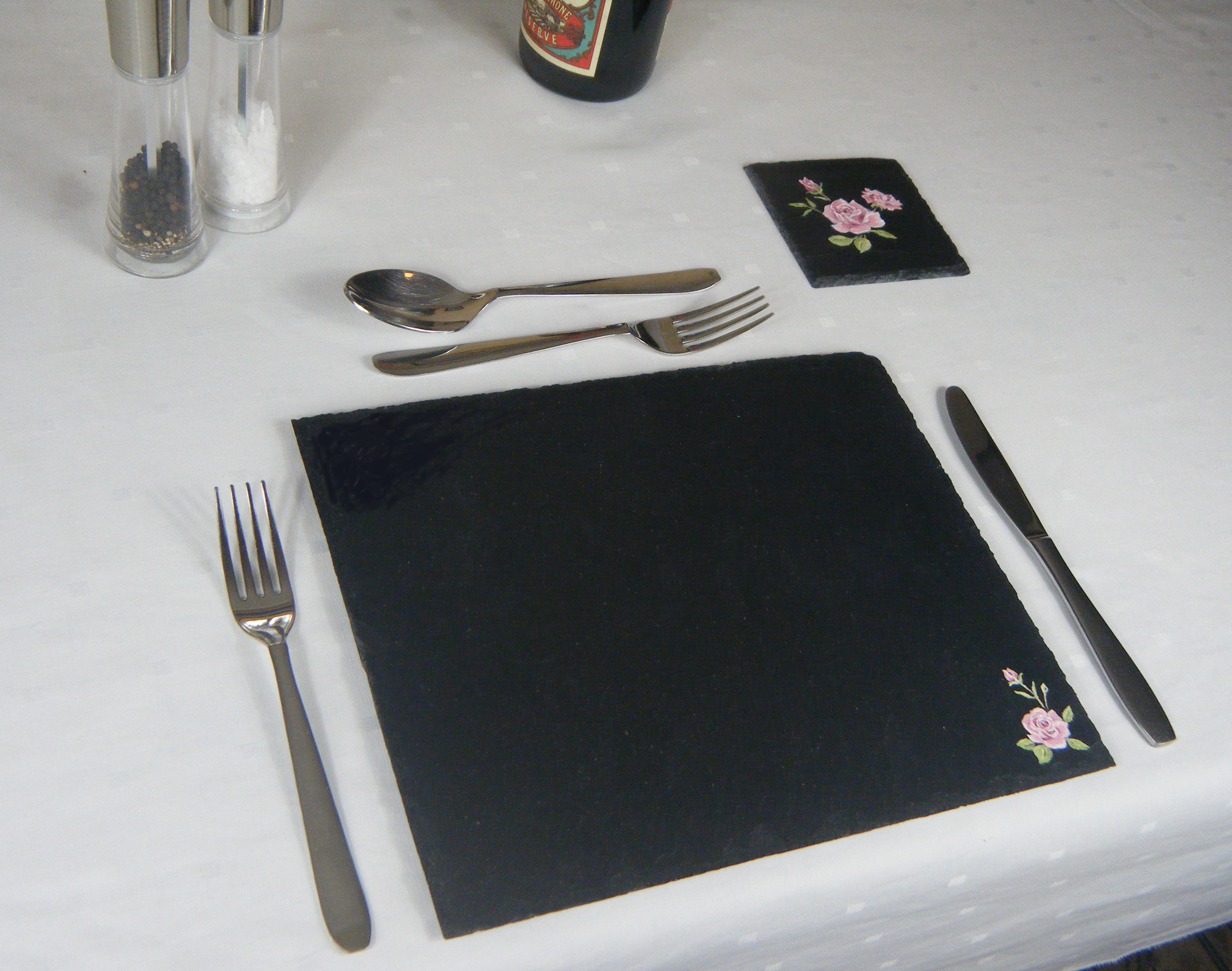 Hand painted rose placemat & coaster