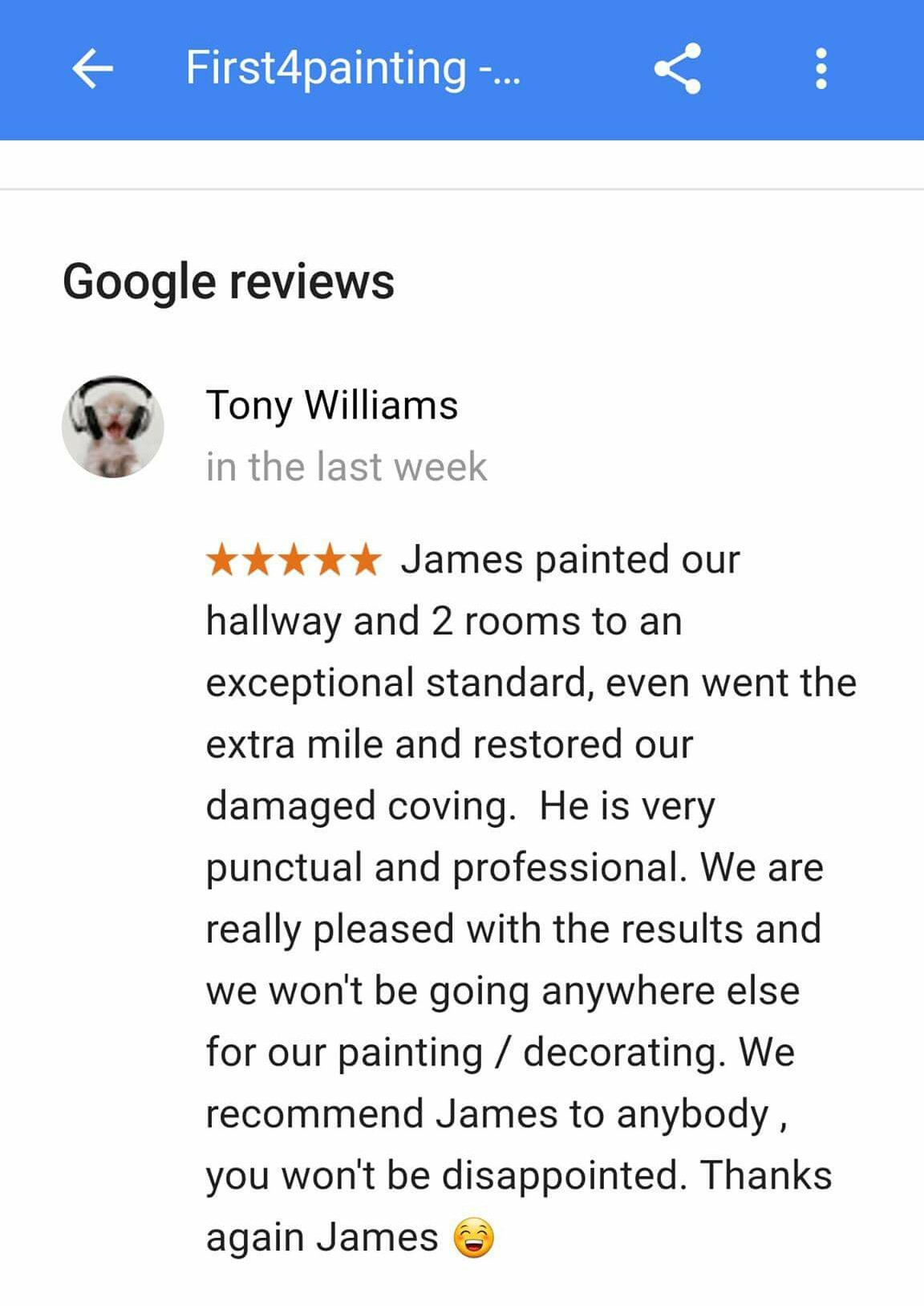 Check out our Fantastic Google review.