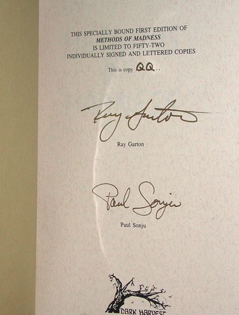 Methods Of Madness Signed Lettered Edition