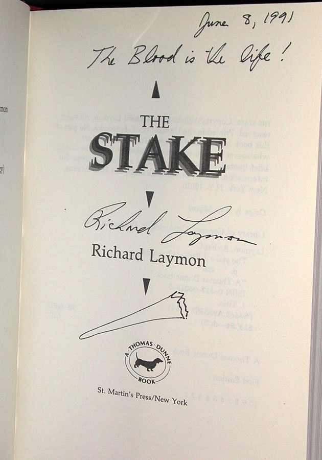 The Stake Signed US 1st Edition