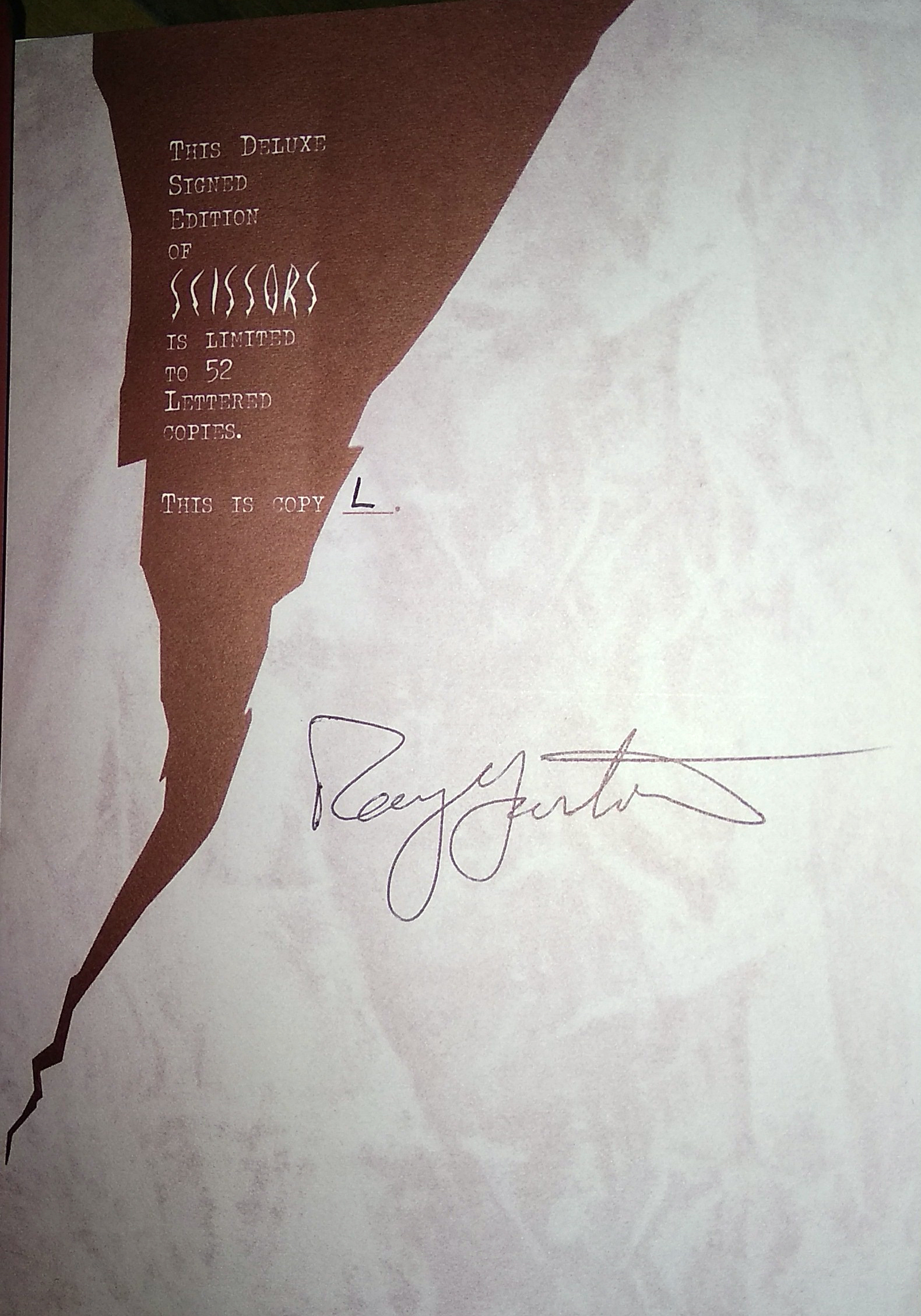 Scissors Signed Lettered Edition