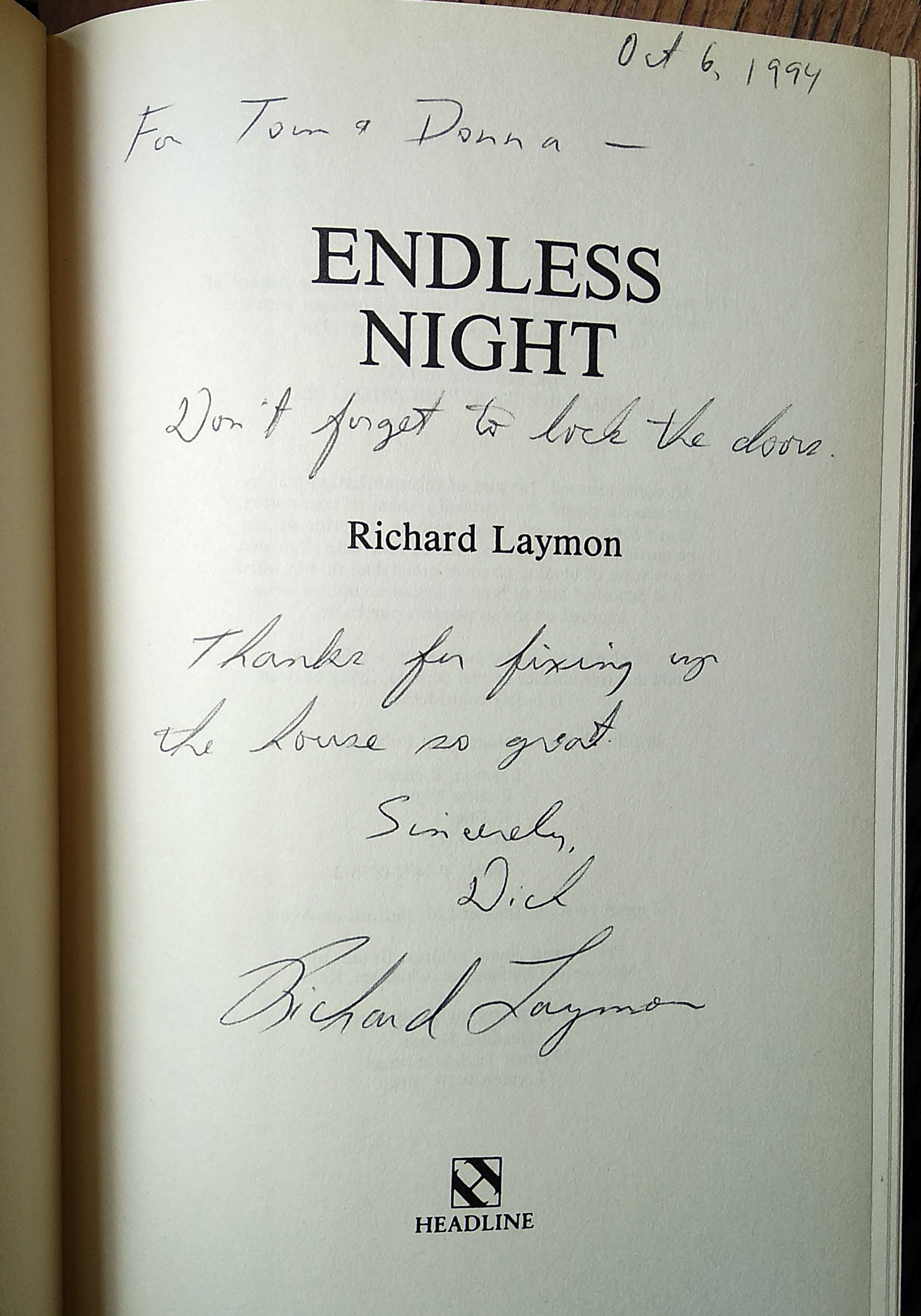 Endless Night Signed UK 1st Edition