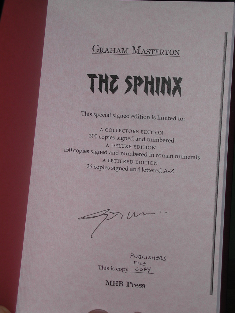 The Sphinx Signed Collectors Edition