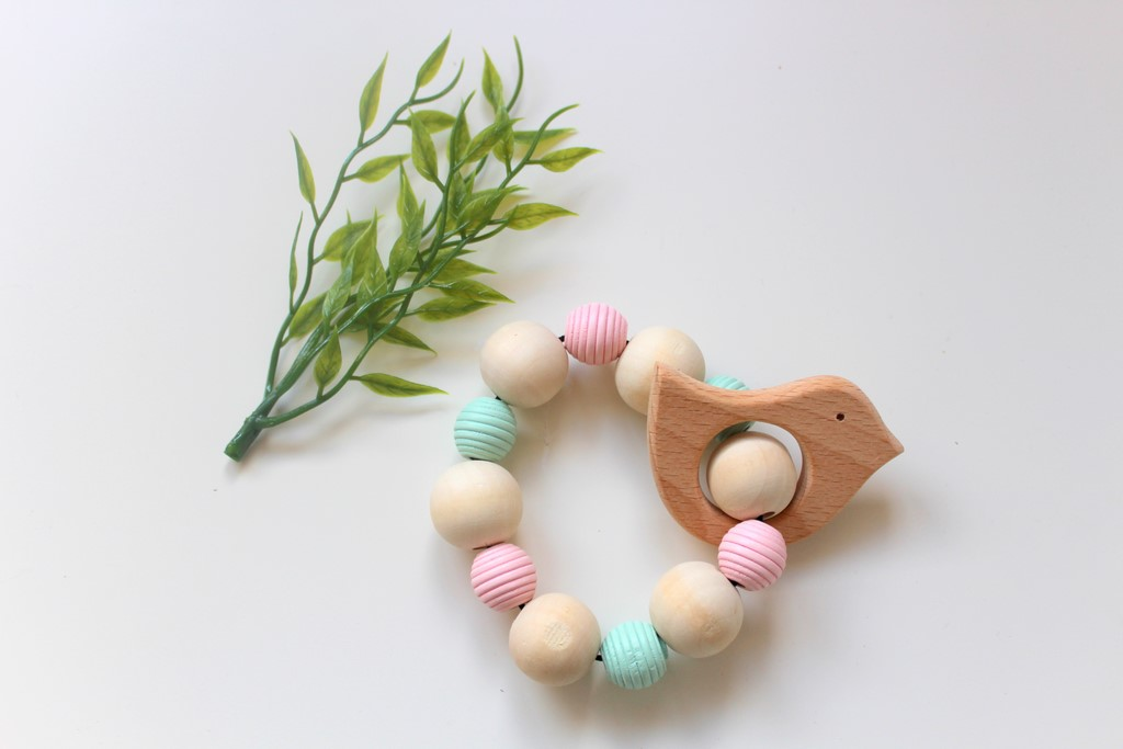 Wooden Teether Rattle - Mint & Pink