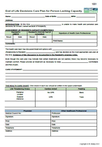 Long Term Care - Lacking Capacity End of Life Care Plan Form (Pack of 10)