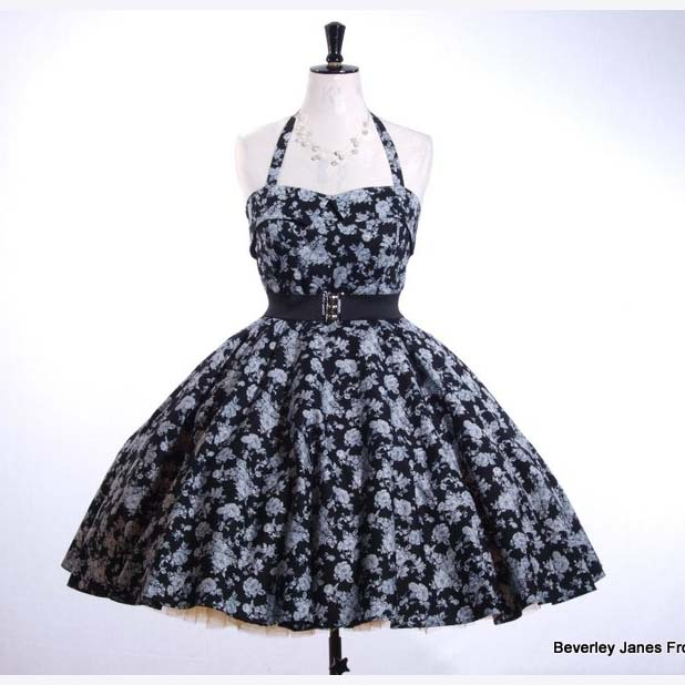 Black Vintage Rose Dress