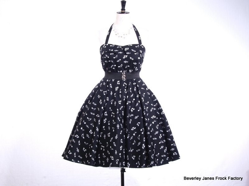 Black Music Notes Dress