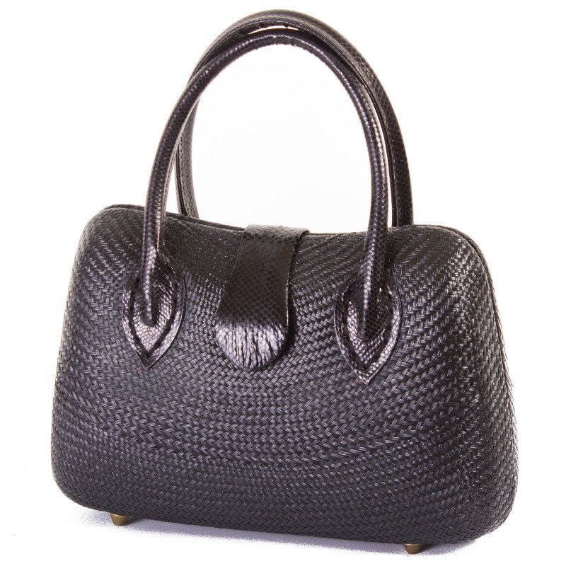 Marlow Straw Tote in Black