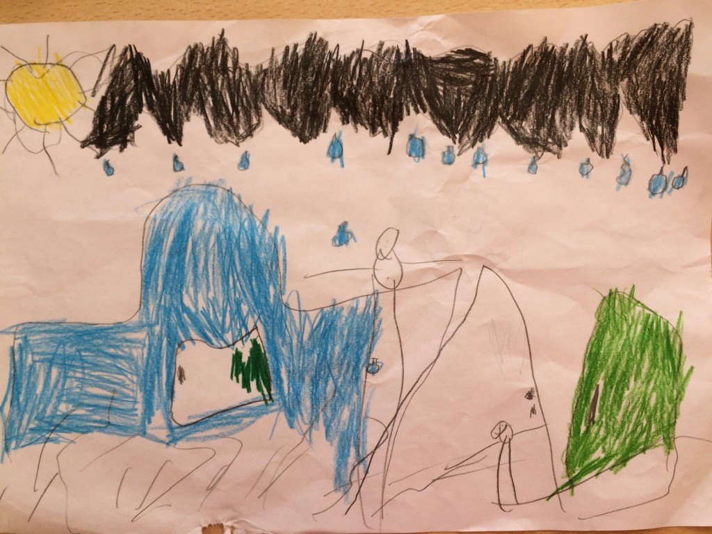 A child's picture of black storm clouds gathering over his family