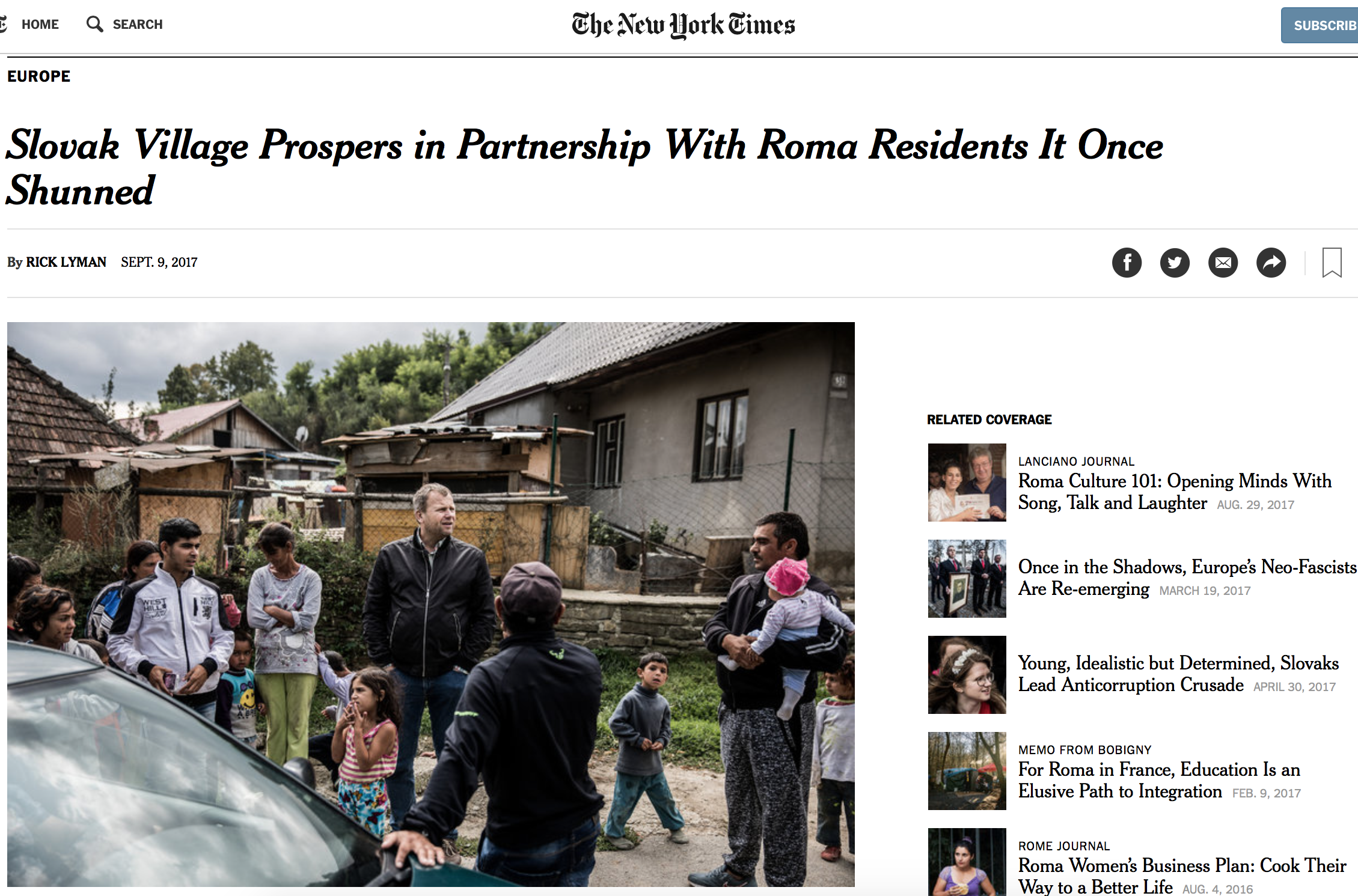 Slovak village in The New York Times