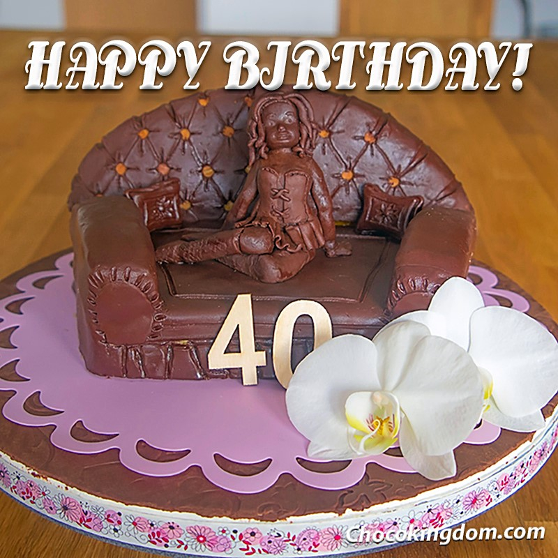 40 and Fabulous-Modeling Chocolate Sofa Cake