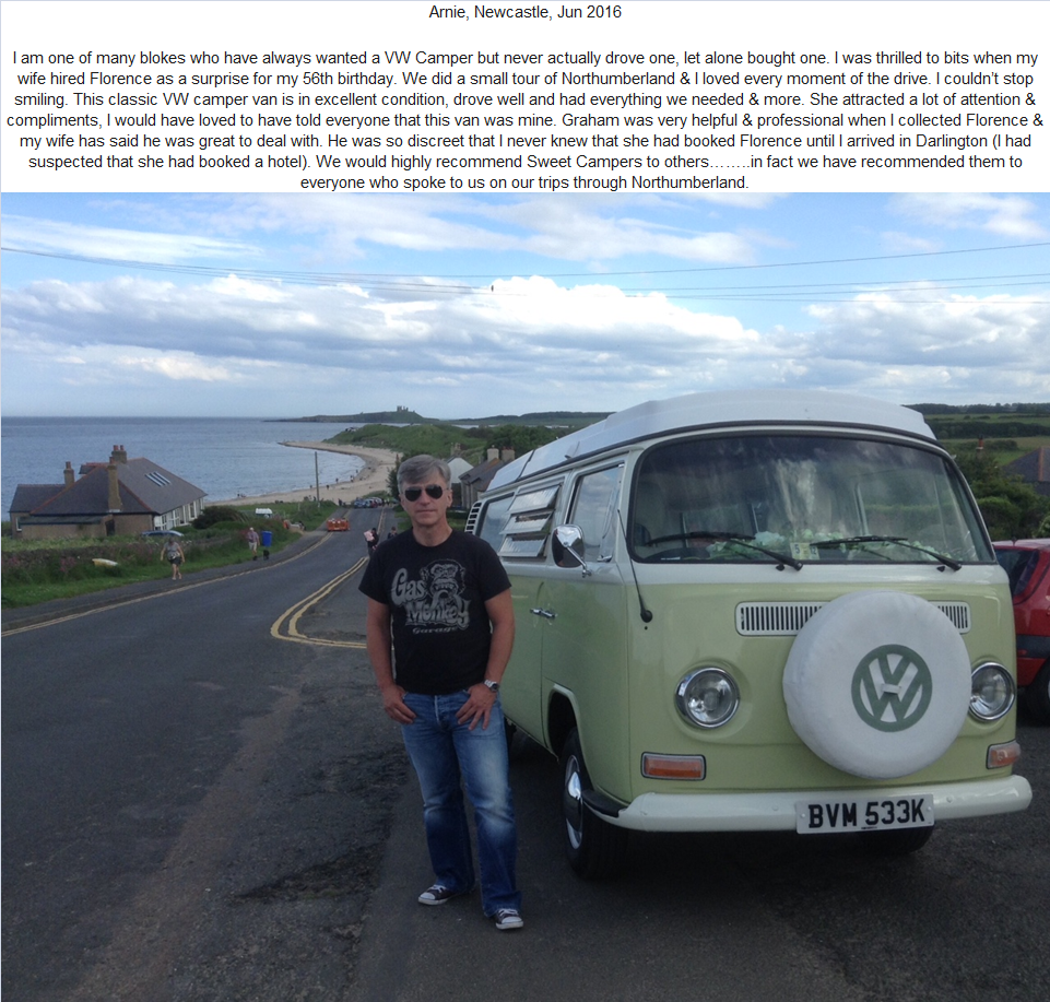 vw campervan hire Northumberland