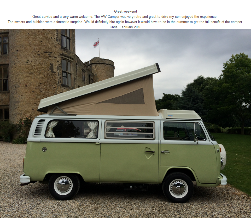 Great service and a very warm welcome. The VW Camper was very retro and great to drive my son enjoyed the experience.