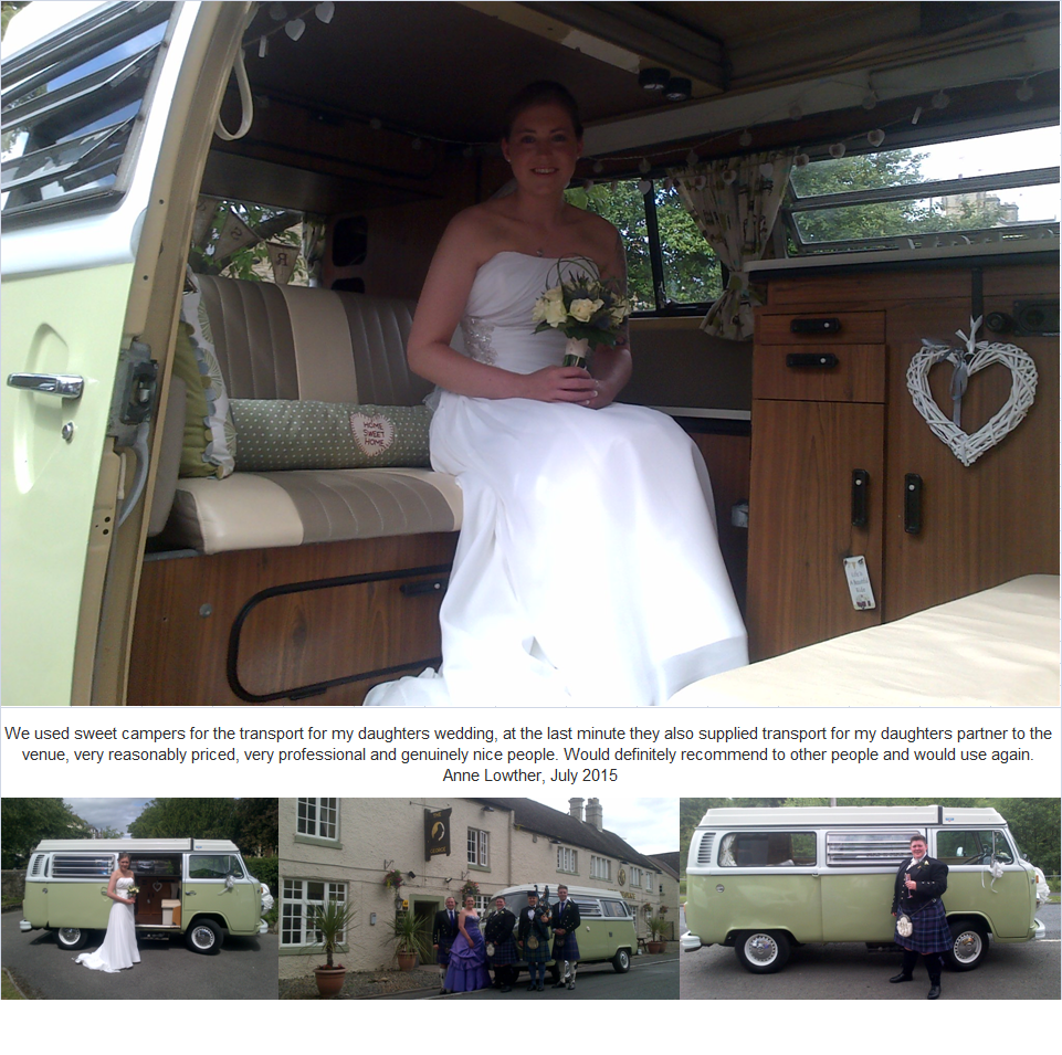 We used sweet campers for the transport for my daughters wedding, at the last minute they also supplied transport for my daughters partner to the venue, very reasonably priced, very professional and genuinely nice people. Would definitely recommend to other people and would use again. Anne Lowther, July 2015
