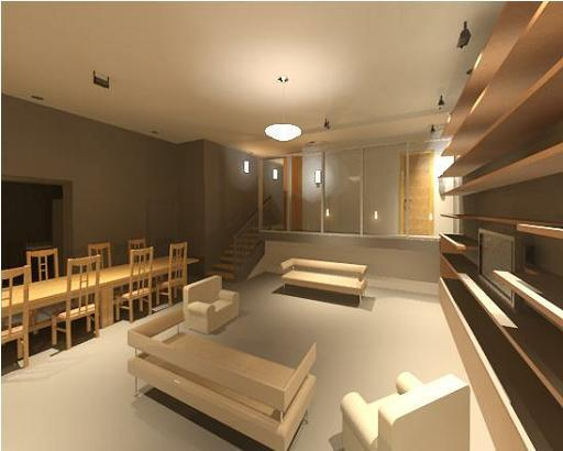 CGI of the principal room at night