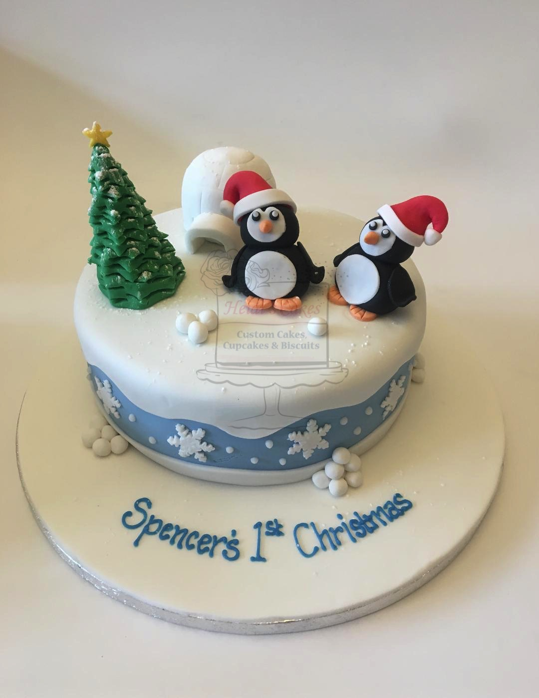 Penguins & Igloo Round Cake