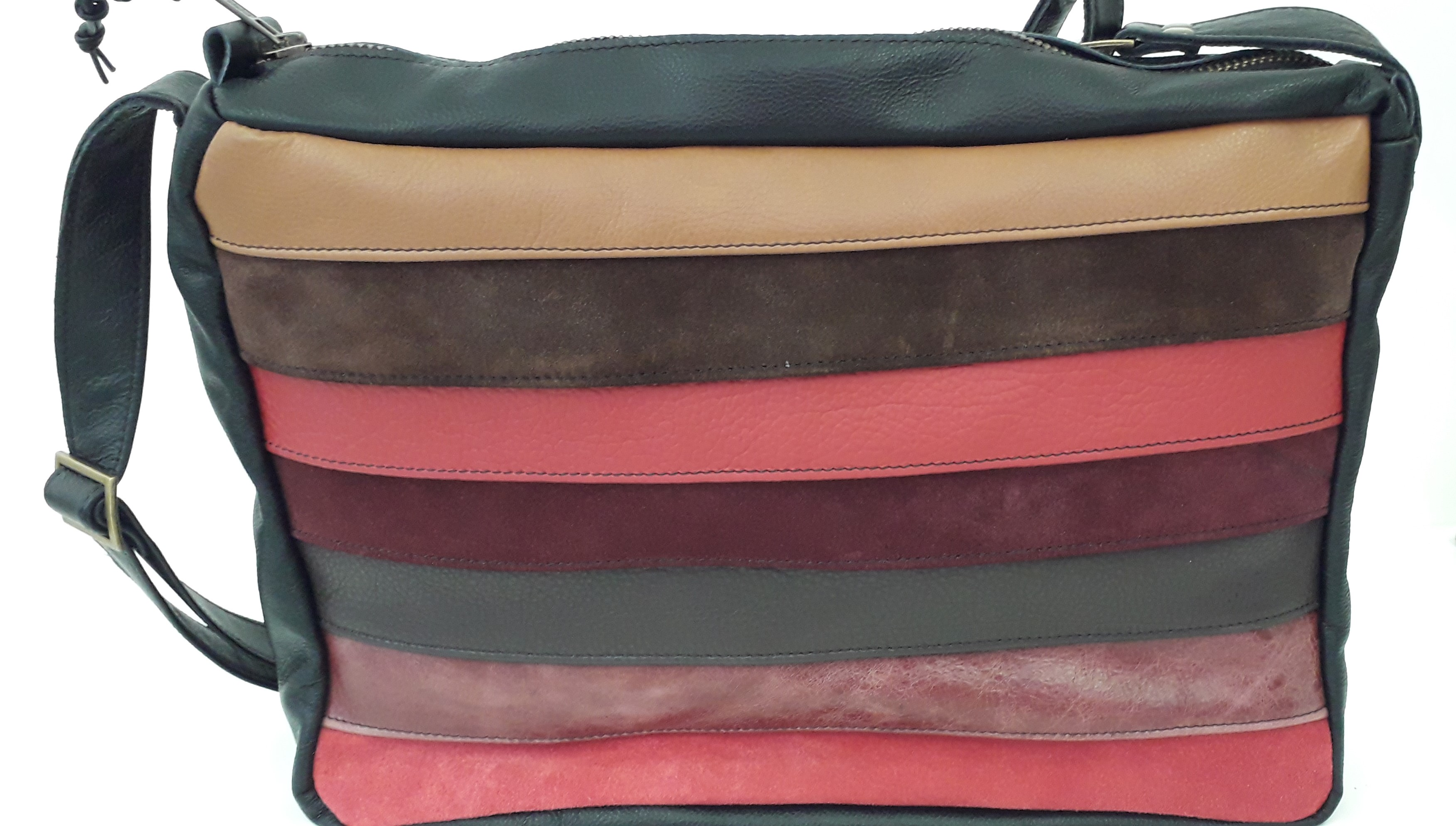 Leather and suede stripe handbag