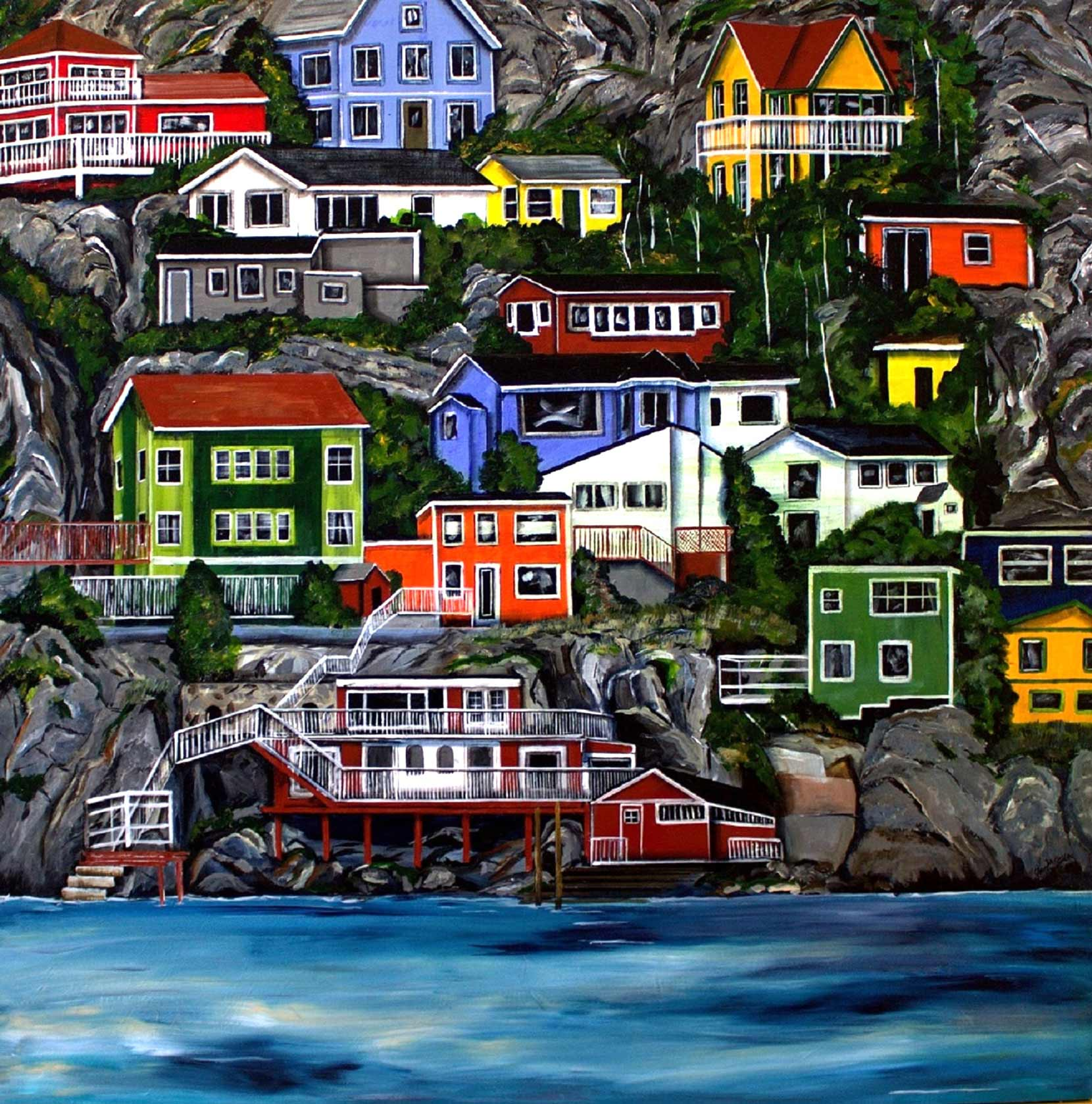 """The Battery"", St. John's, Newfoundland, 48x48"