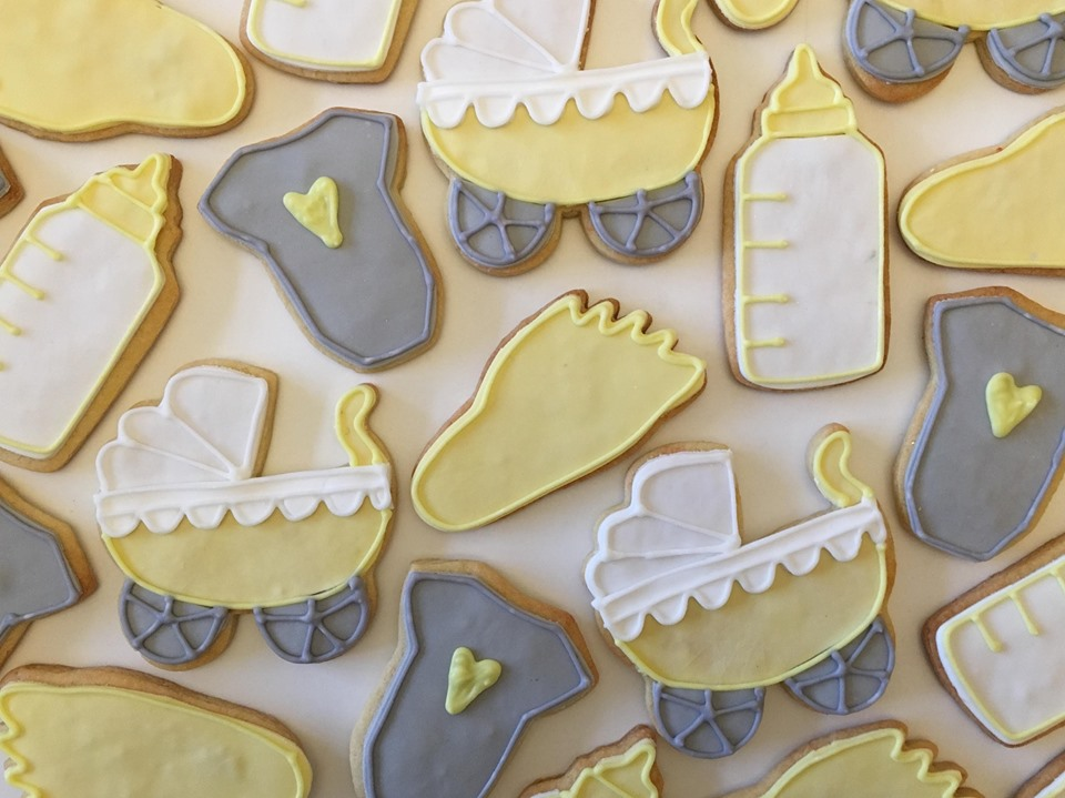 Yellow and Grey Baby Shower Biscuits