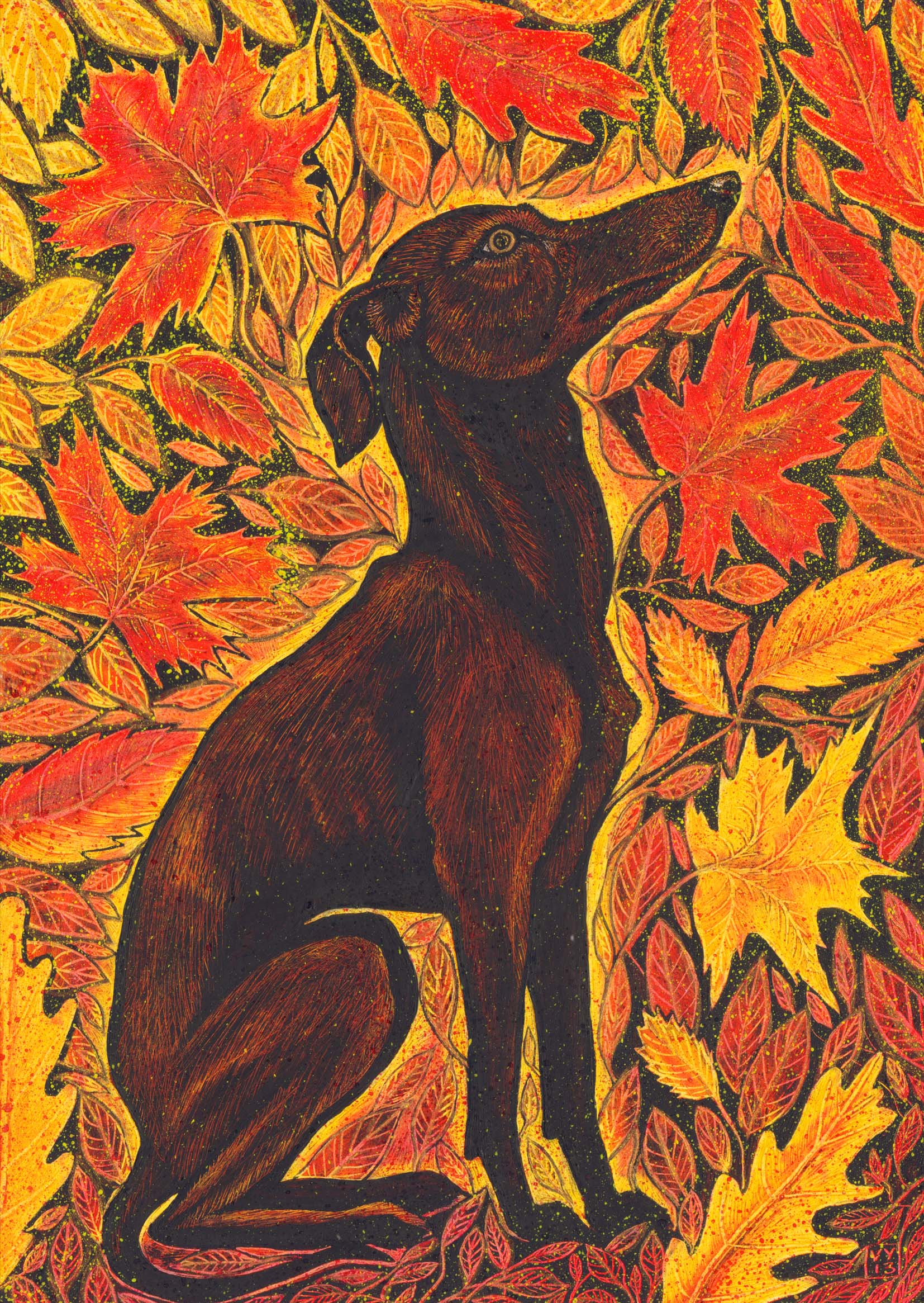 'Autumn Hound' card