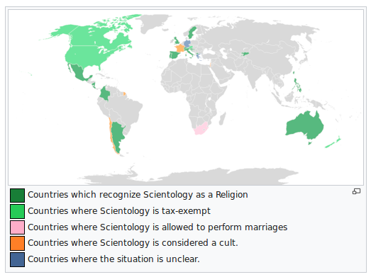 Countries that recognize Scientology