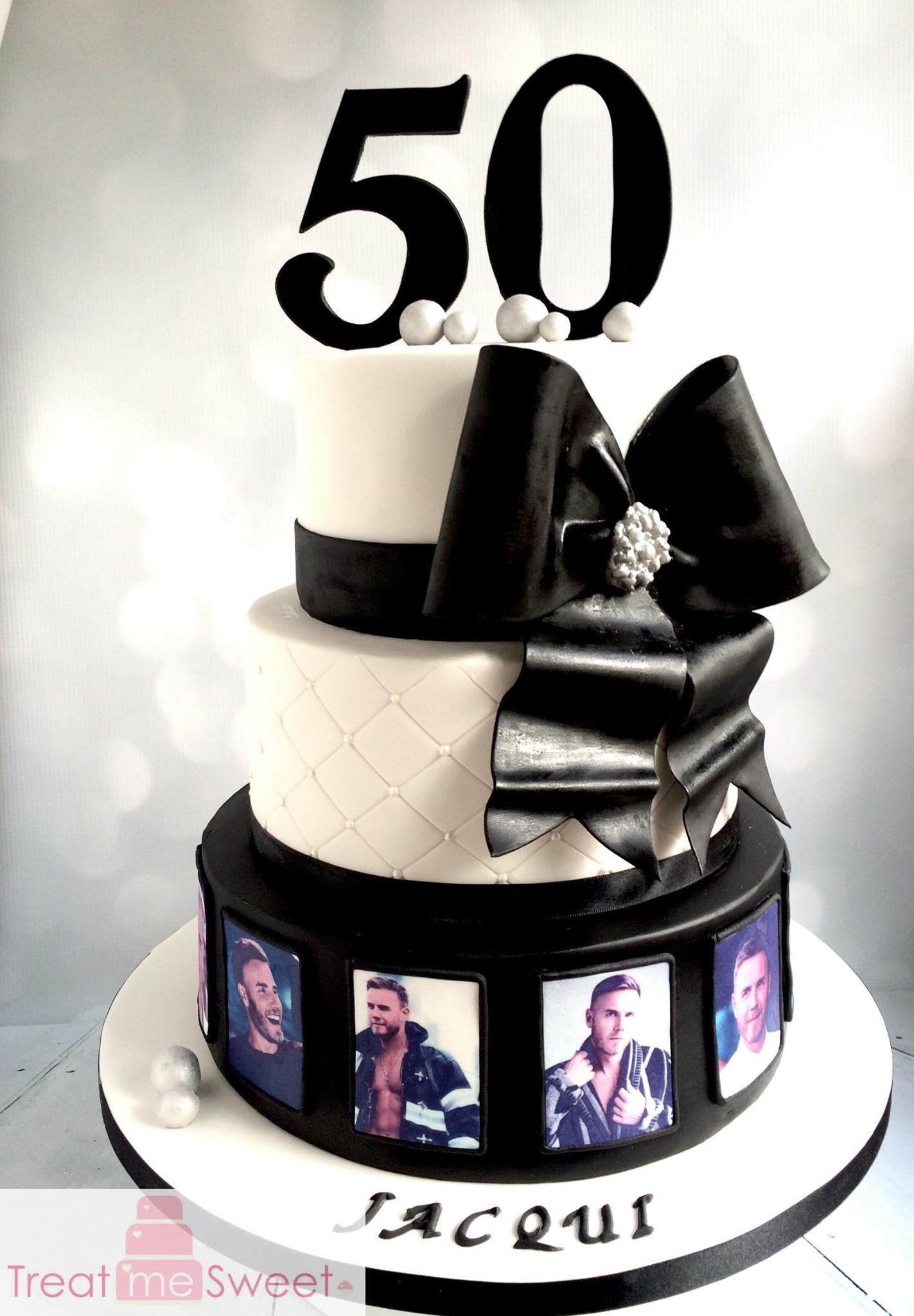 3 Tier Black and White Gary Barlow cake with quilting and Large bow - Treat me Sweet