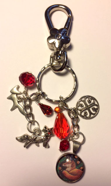 Fox bag charm with red/orange beads