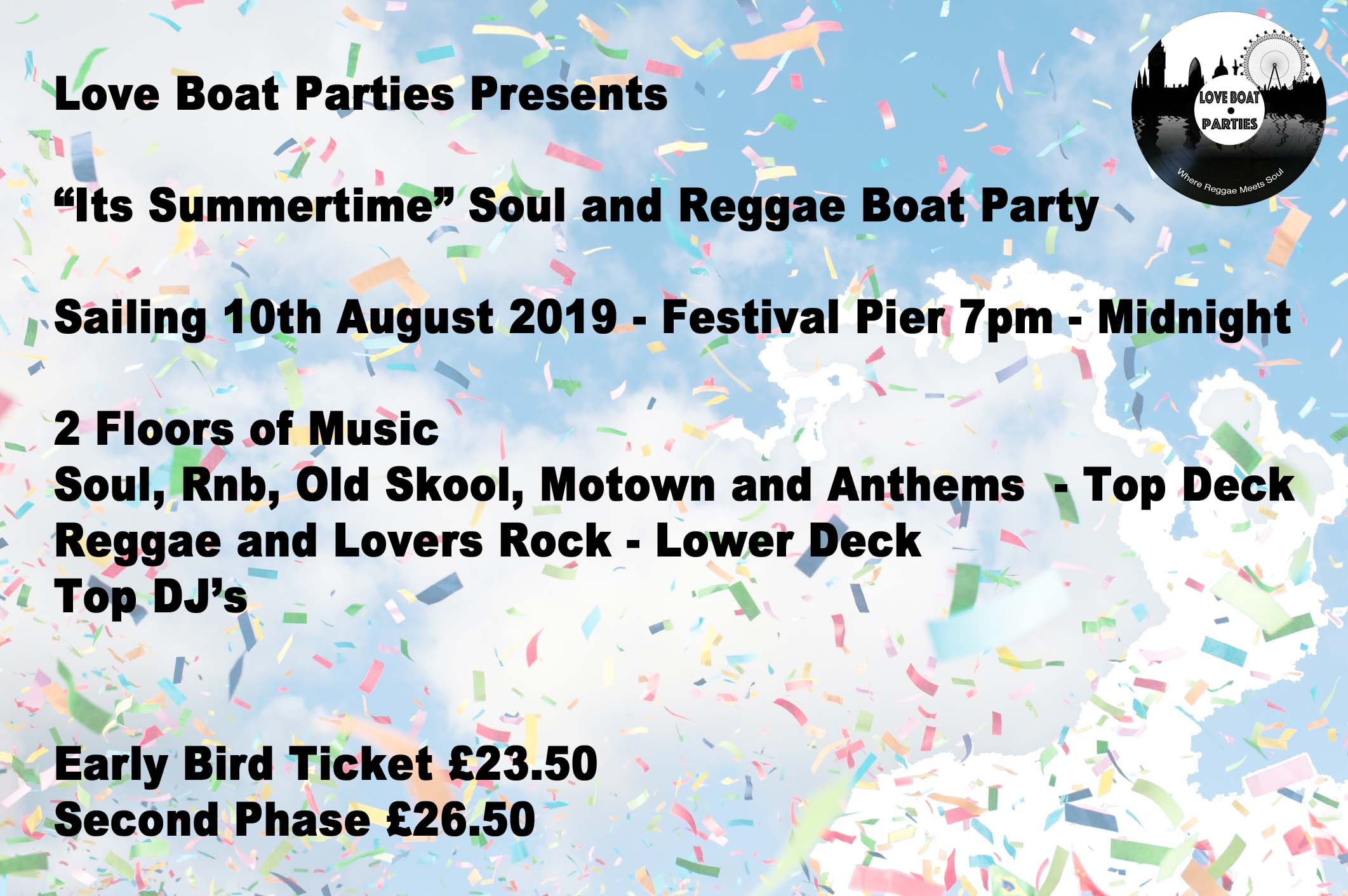 """Its Summertime"" Soul and Reggae Boat Party"""