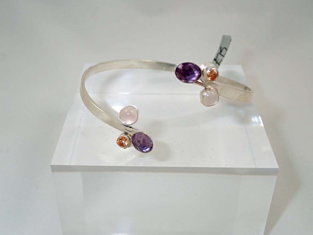 Amethyst, rose quartz and citrine cuff bangle