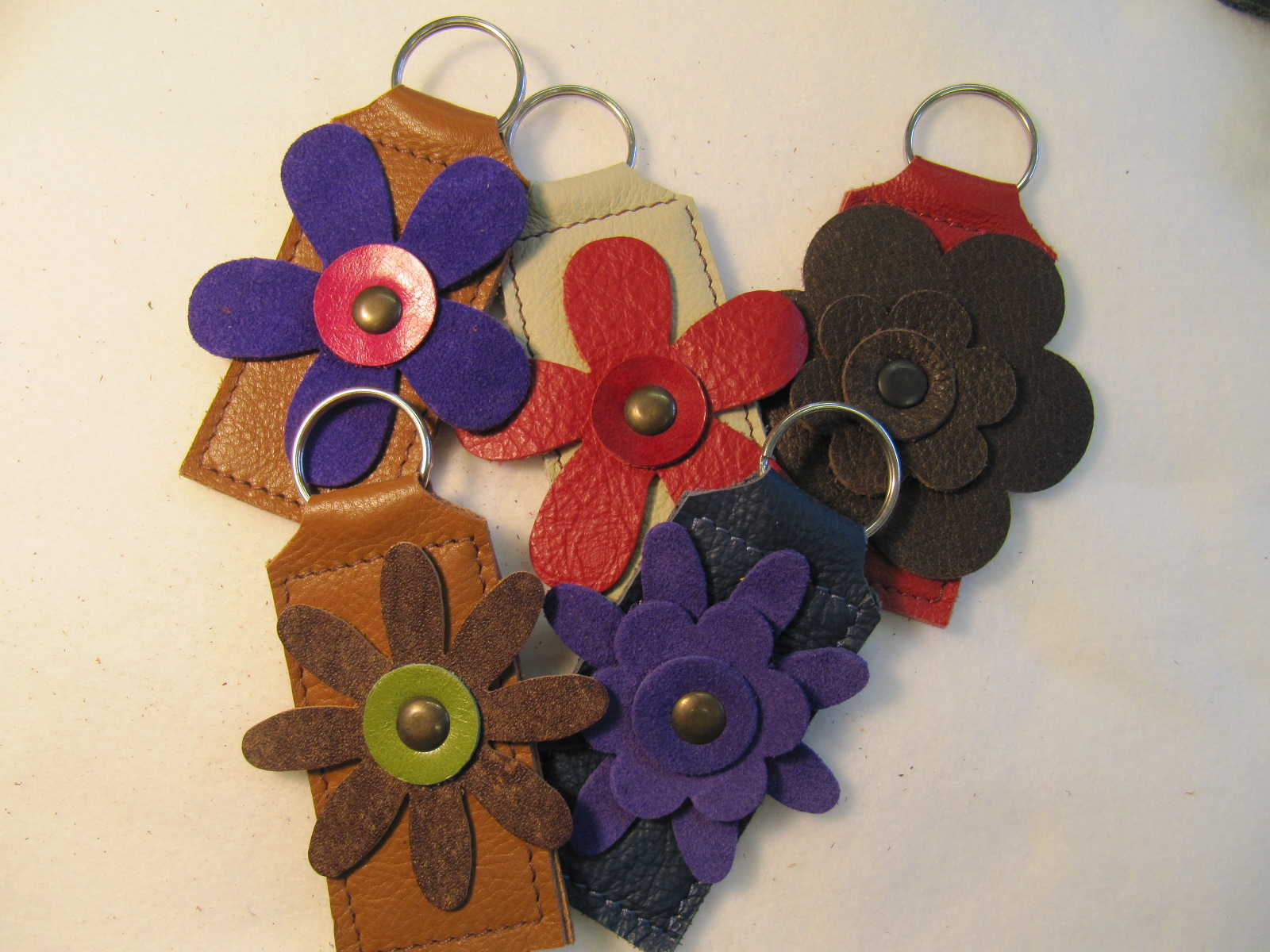 Flower leather key fobs