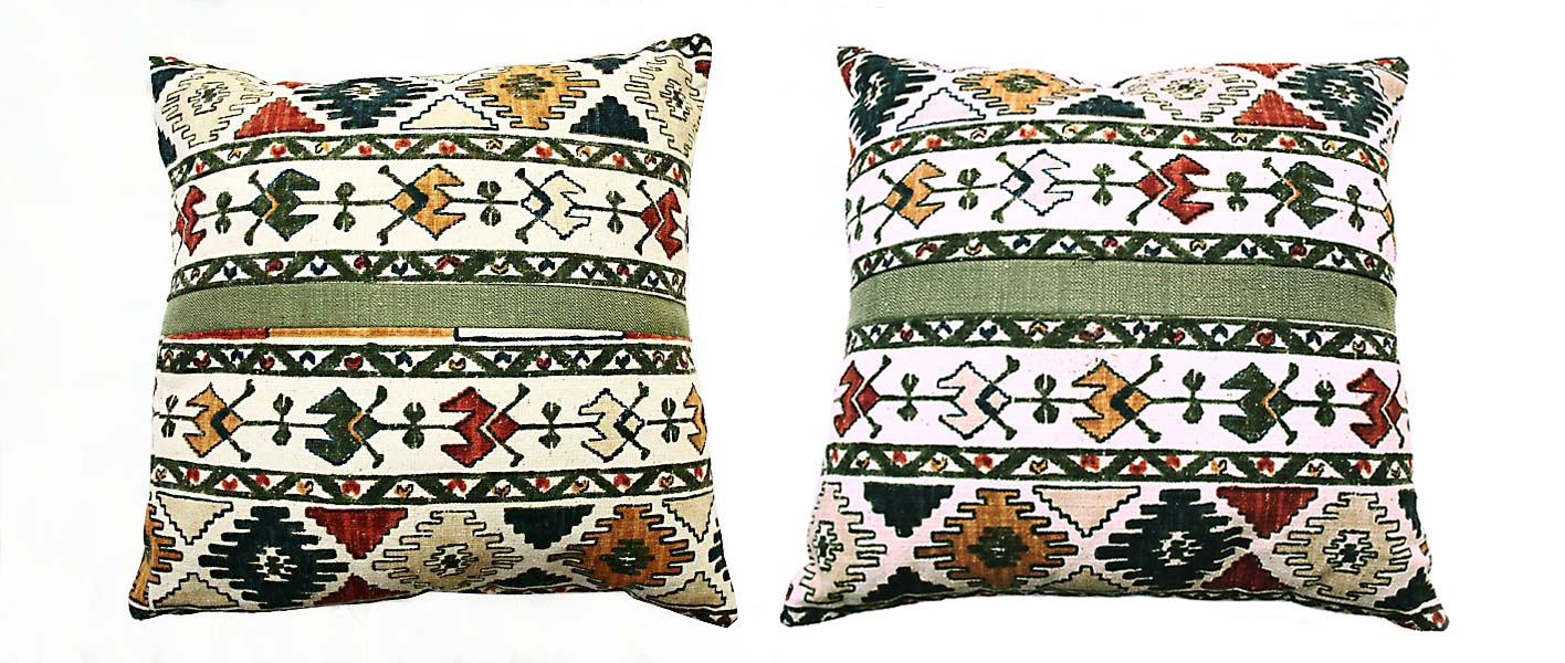 Set Of Green Ikat Cushions With Toggles