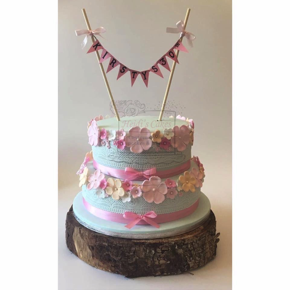 Pastel Flowers & Lace 2 Tier