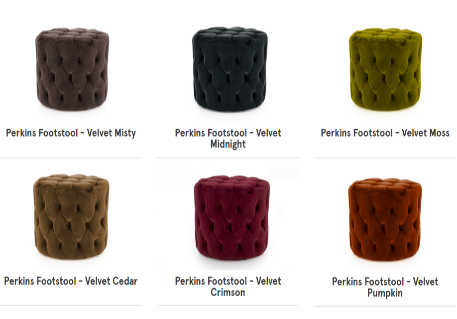 Perkins Velvet Footstools, Cedarwood Kitchens, Bedrooms & Home Interiors