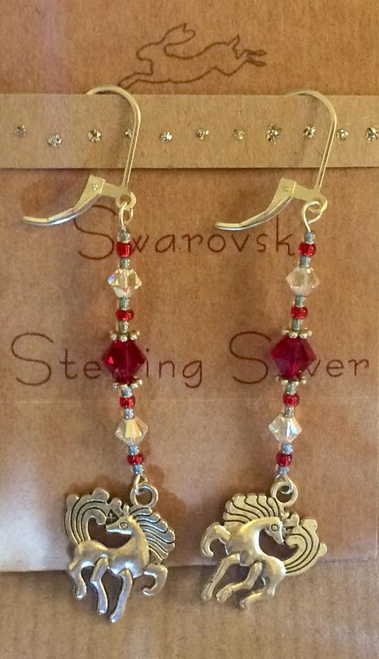 Horse sterling silver and red crystal earrings