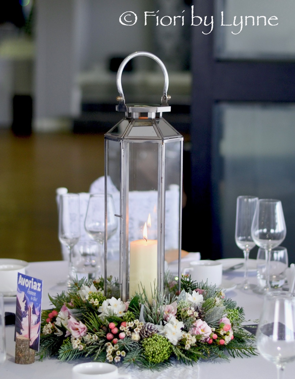 centrepiece with lantern for winter-christmas wedding.jpg