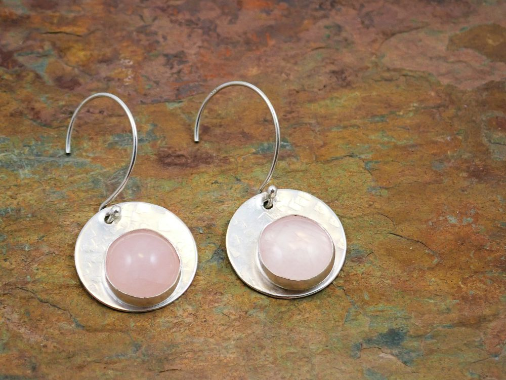 Rose quartz circle earrings
