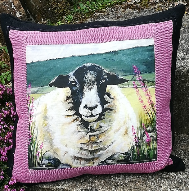 Donegal Tweed by Fabric Affair:Sheep Design Cushion Kit.