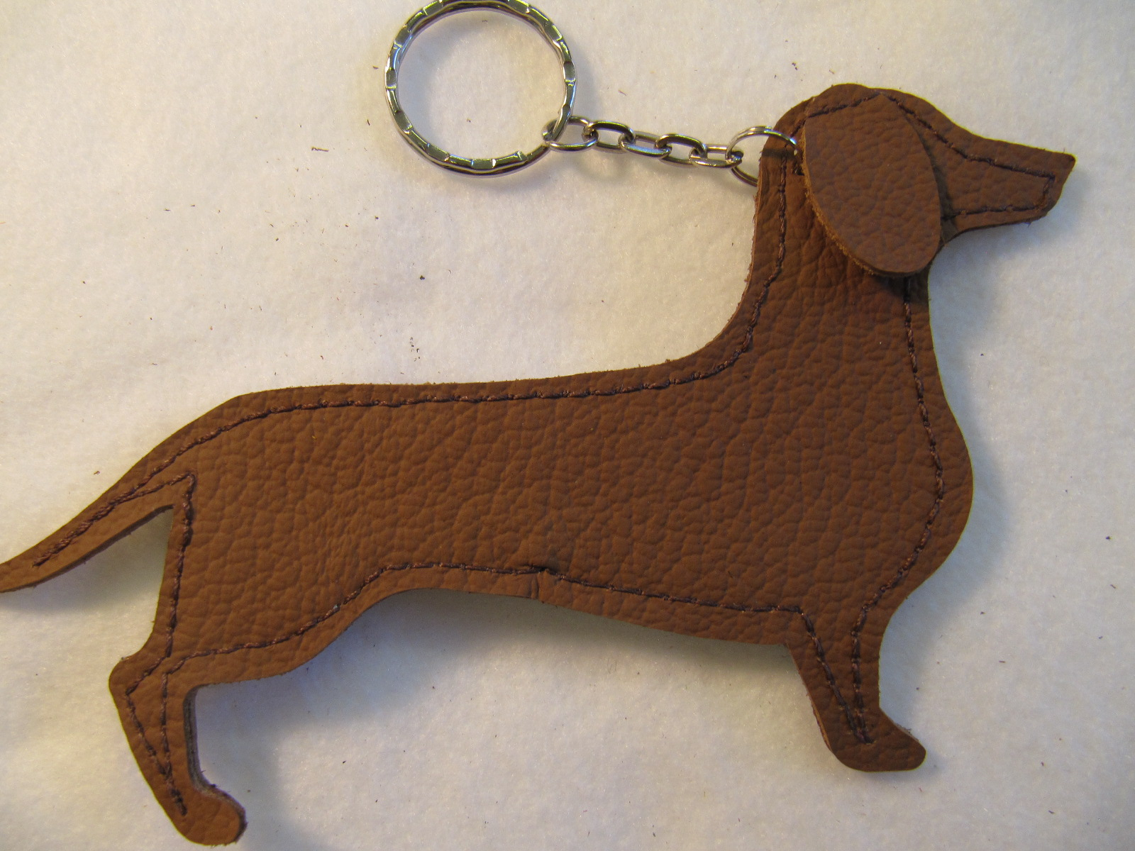 Dachshund leather key fobs