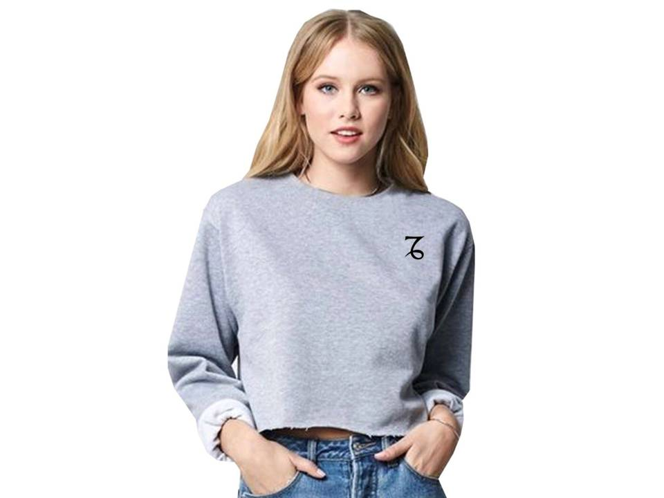 Capricorn star sign. Grey cropped sweatshirt